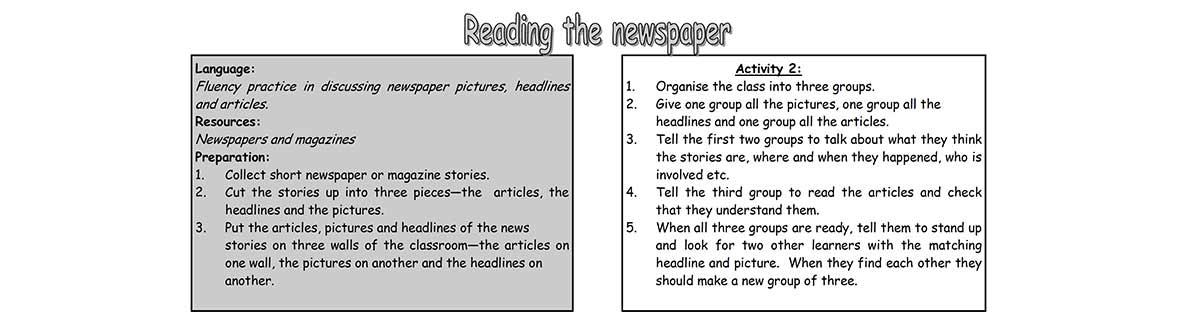 Reading the newspaper unit worksheet