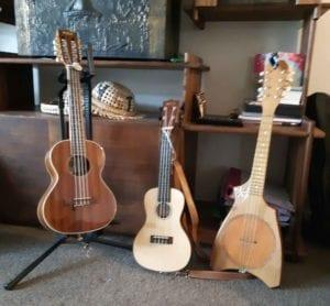 8-stringed Kamaka, 4-stringed ukulele, 8-stringed Tahitian ukulele