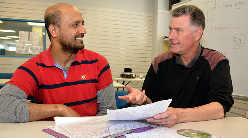 Sudhi ELP learner studies IELTS with Rob O'Connor