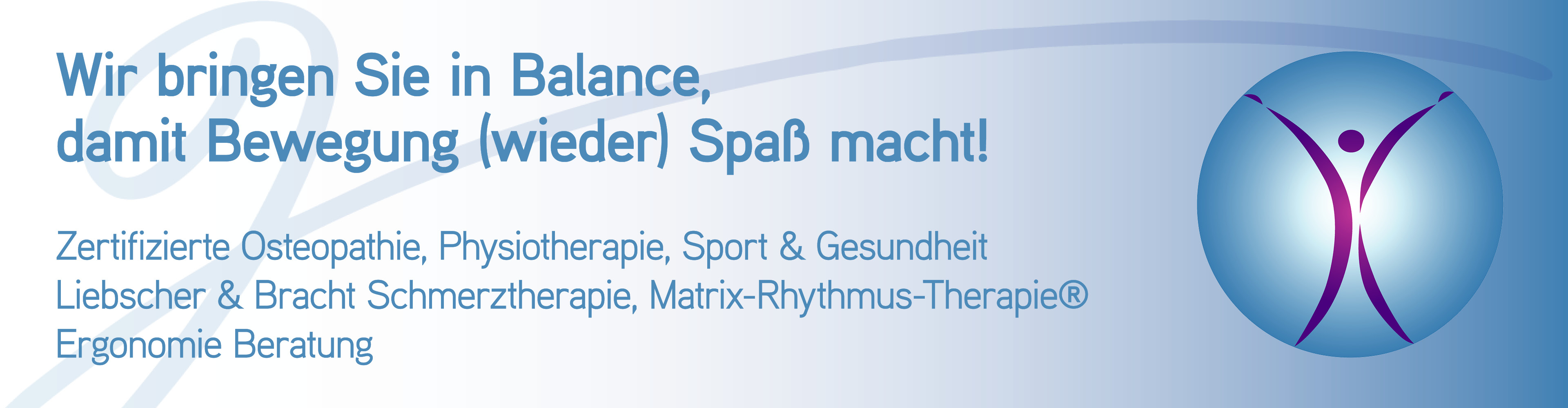 """Praxis Gunsch - Banner """"Wir bringen Sie in Balance"""""""