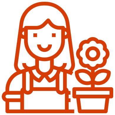 Illustration of a female gardener next to a pot plant