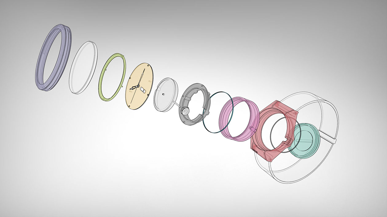 Exploded view of watch assembly