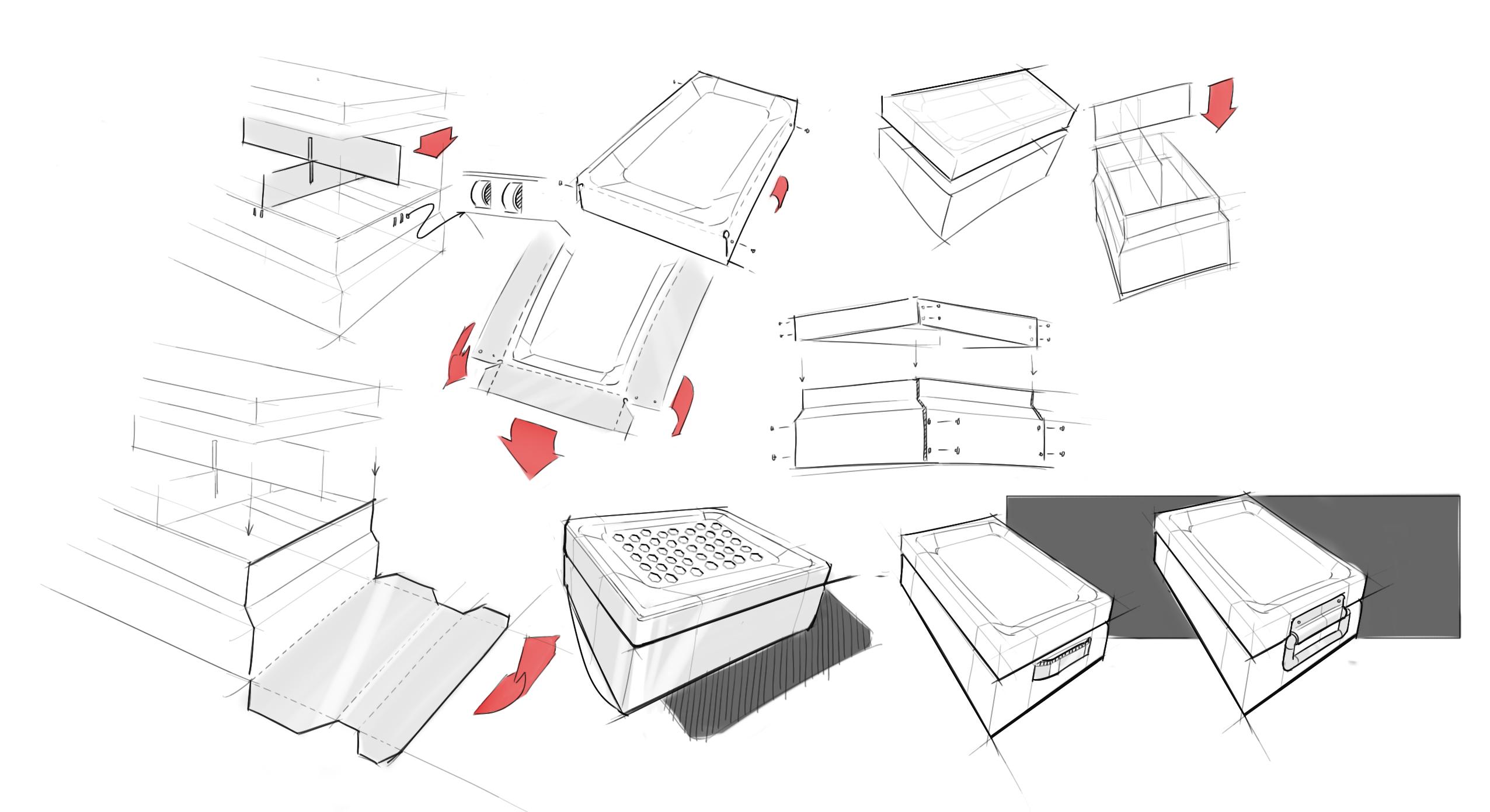 Fume cupboard concept sketches