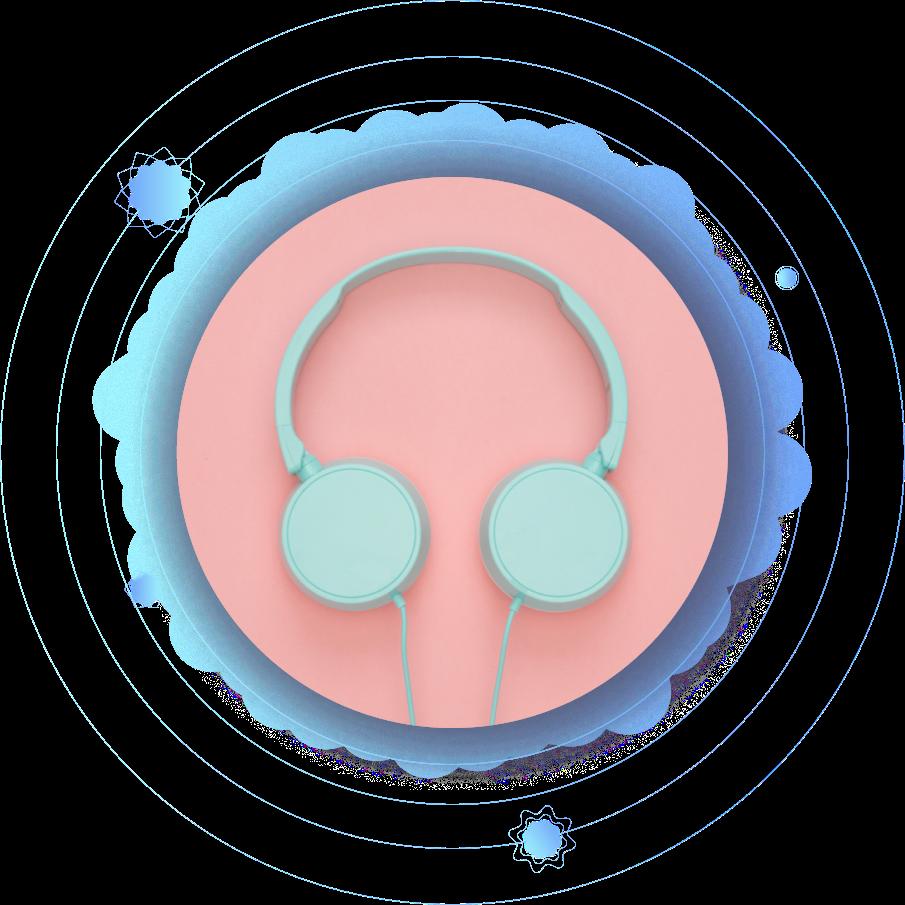grey headphones on pink background