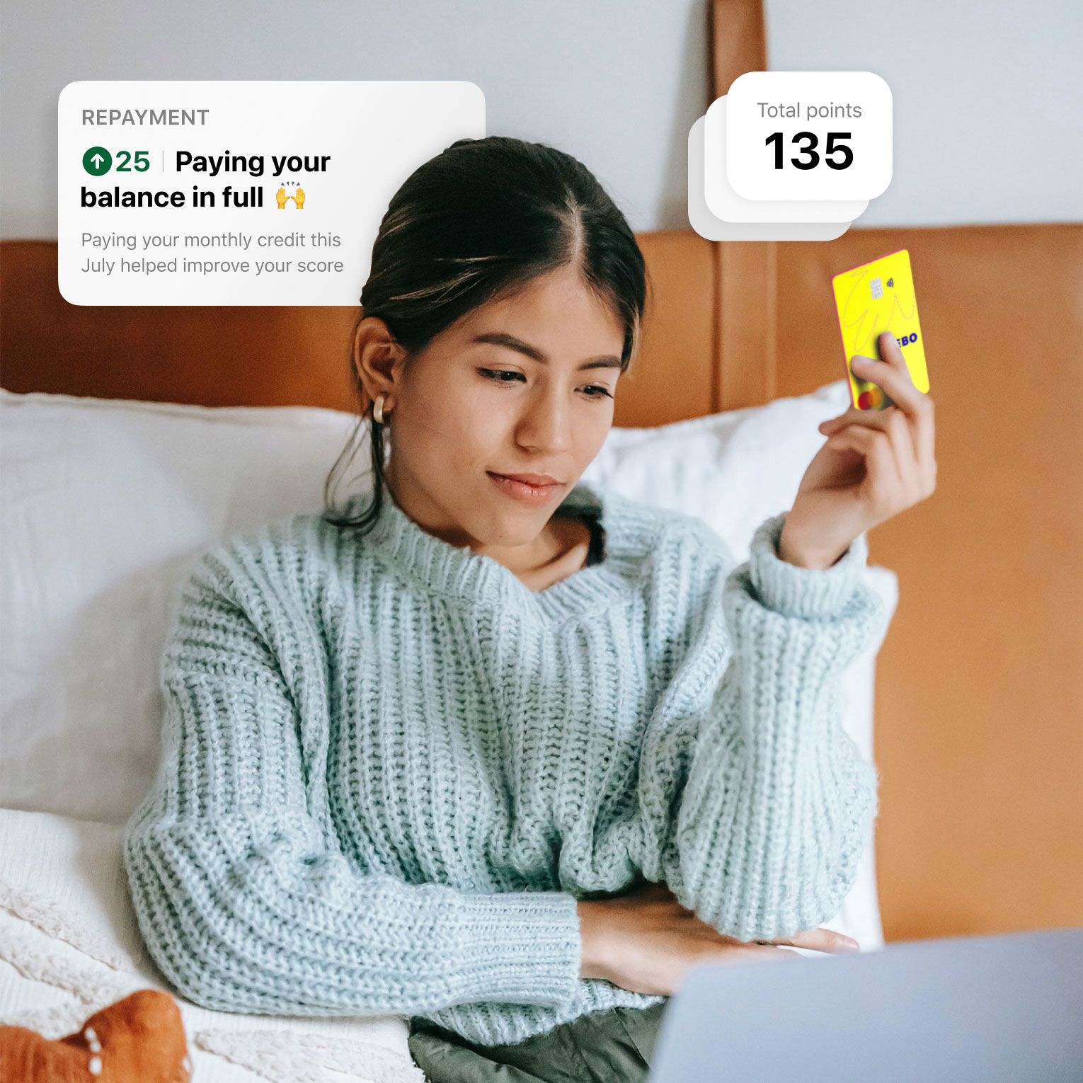 Girl holding a Keebo credit card with features of the app displayed around her