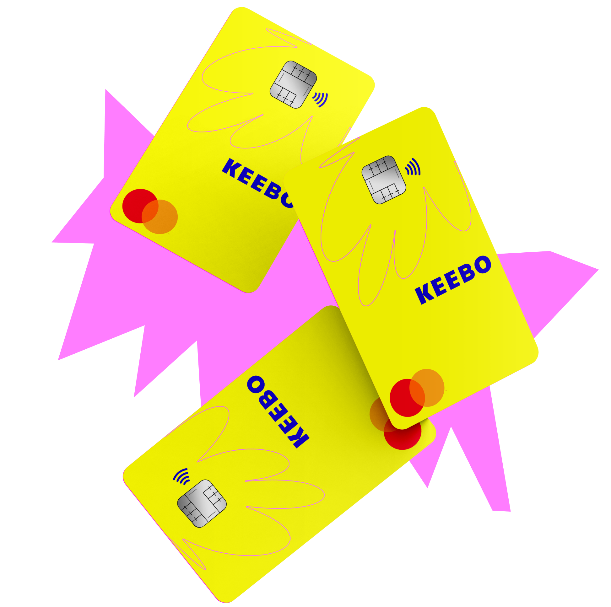 Yellow Keebo credit cards hovering over a pink brand element