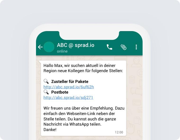 Mitarbeiter werben Mitarbeiter via WhatsApp SMS