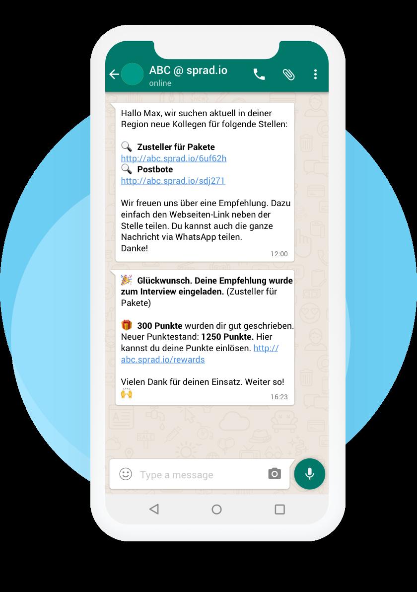 Digitales Mitarbeiterempfehlungsprogramm für Fachkräfte via WhatsApp