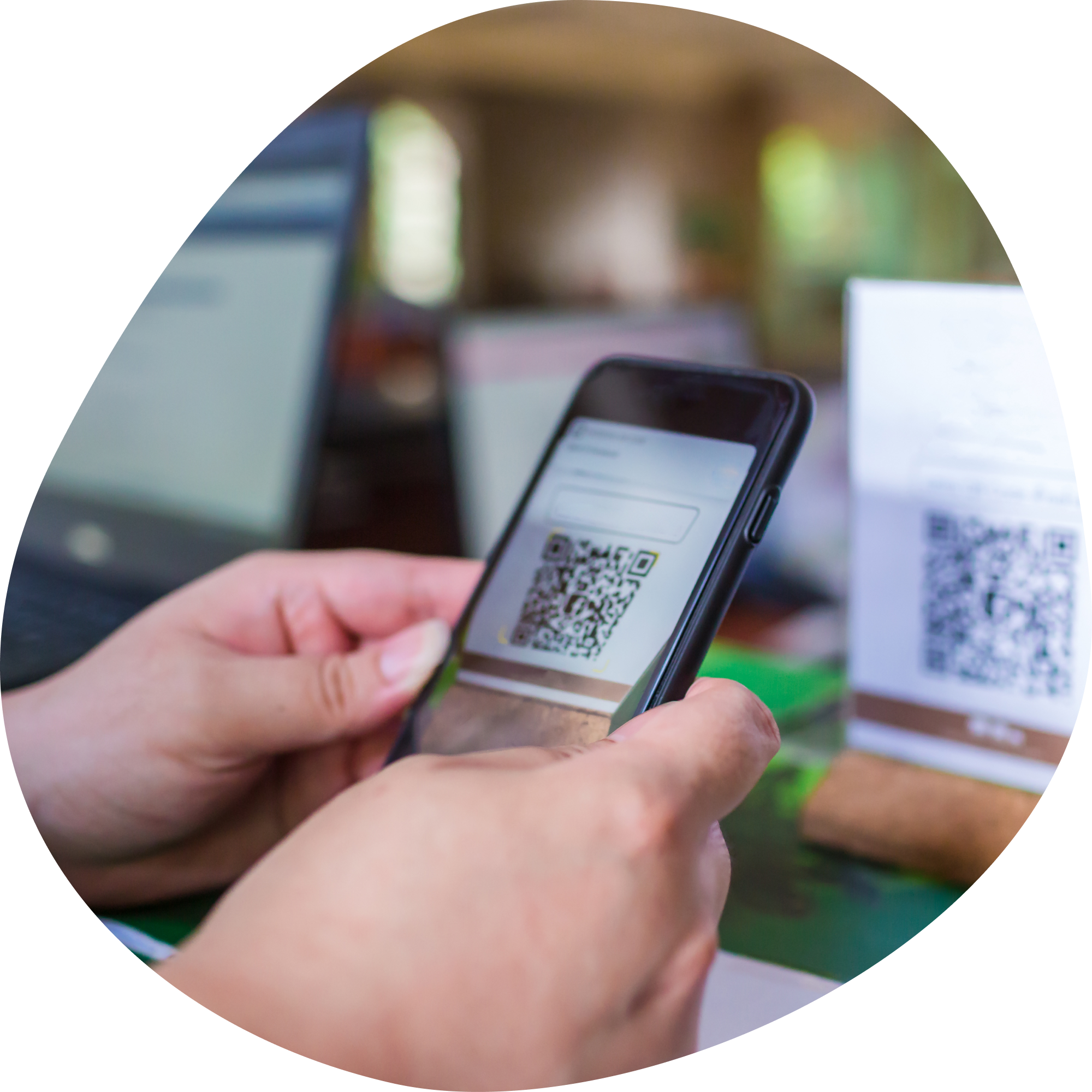 Customer scanning QR code with phone
