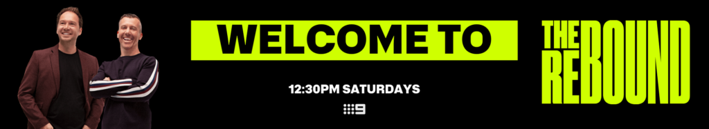 Section banner. Reads: Welcome to the Rebound, 12:30PM Saturdays on Channel Nine