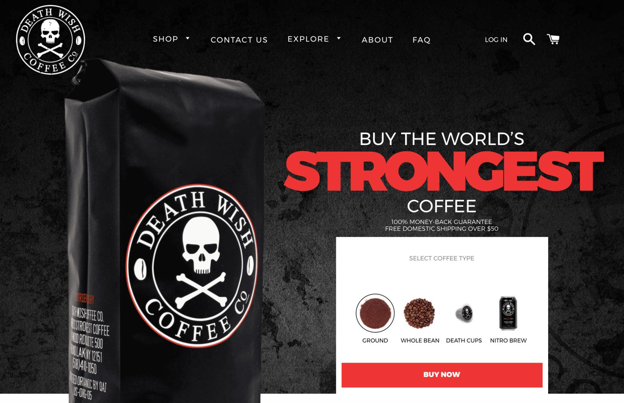 Death Wish Coffee homepage
