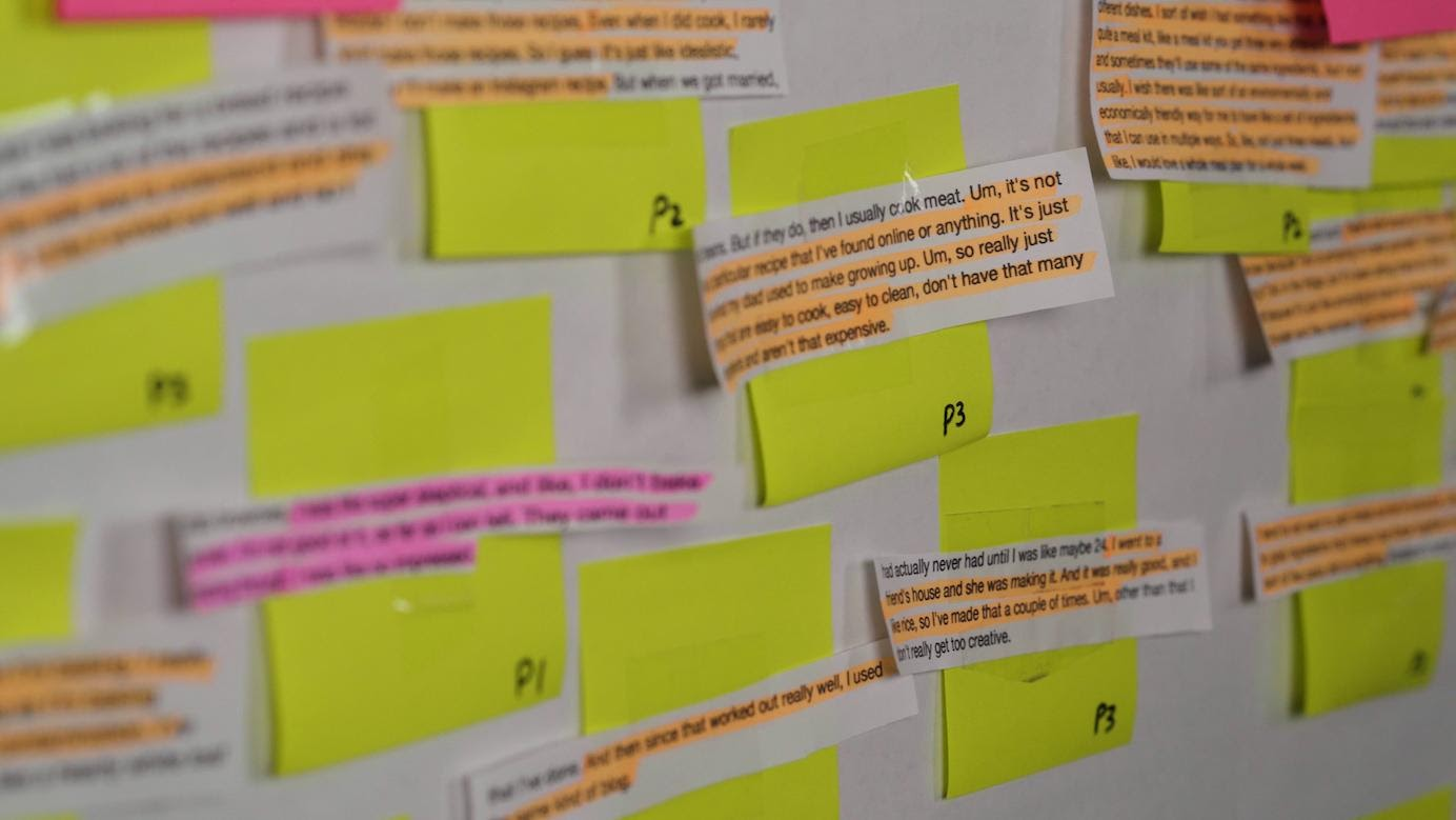 A photograph of lots of highlighted sections of transcripts fixed to stickies and displayed on a wall.