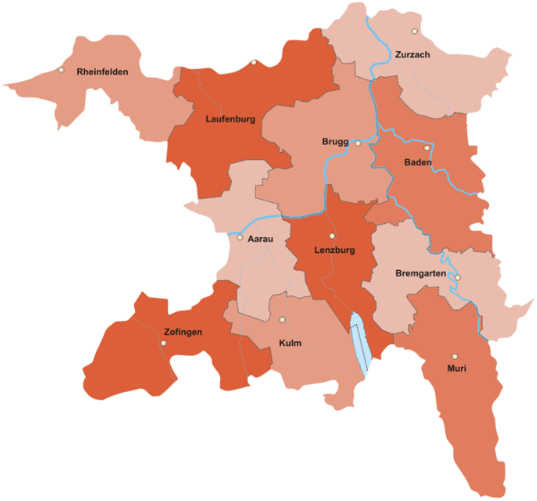 Kanton Aargau Bezirke