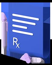 A 3D render of a written prescription.