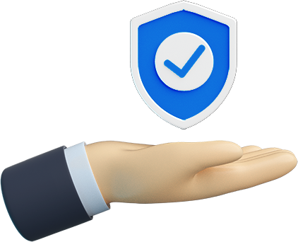 A 3D render of person holding a badge with a checkmark.