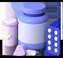 A 3D render of a prescription medication.