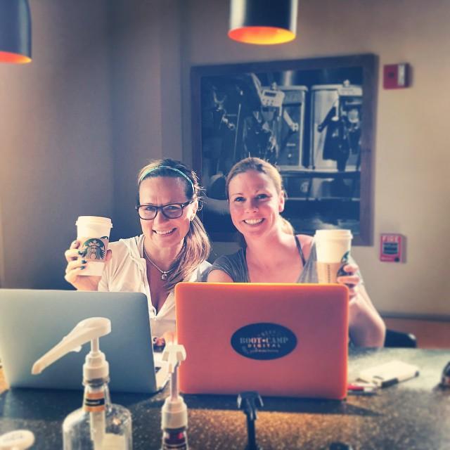 Krista Neher and Lisa Buyer at Starbucks