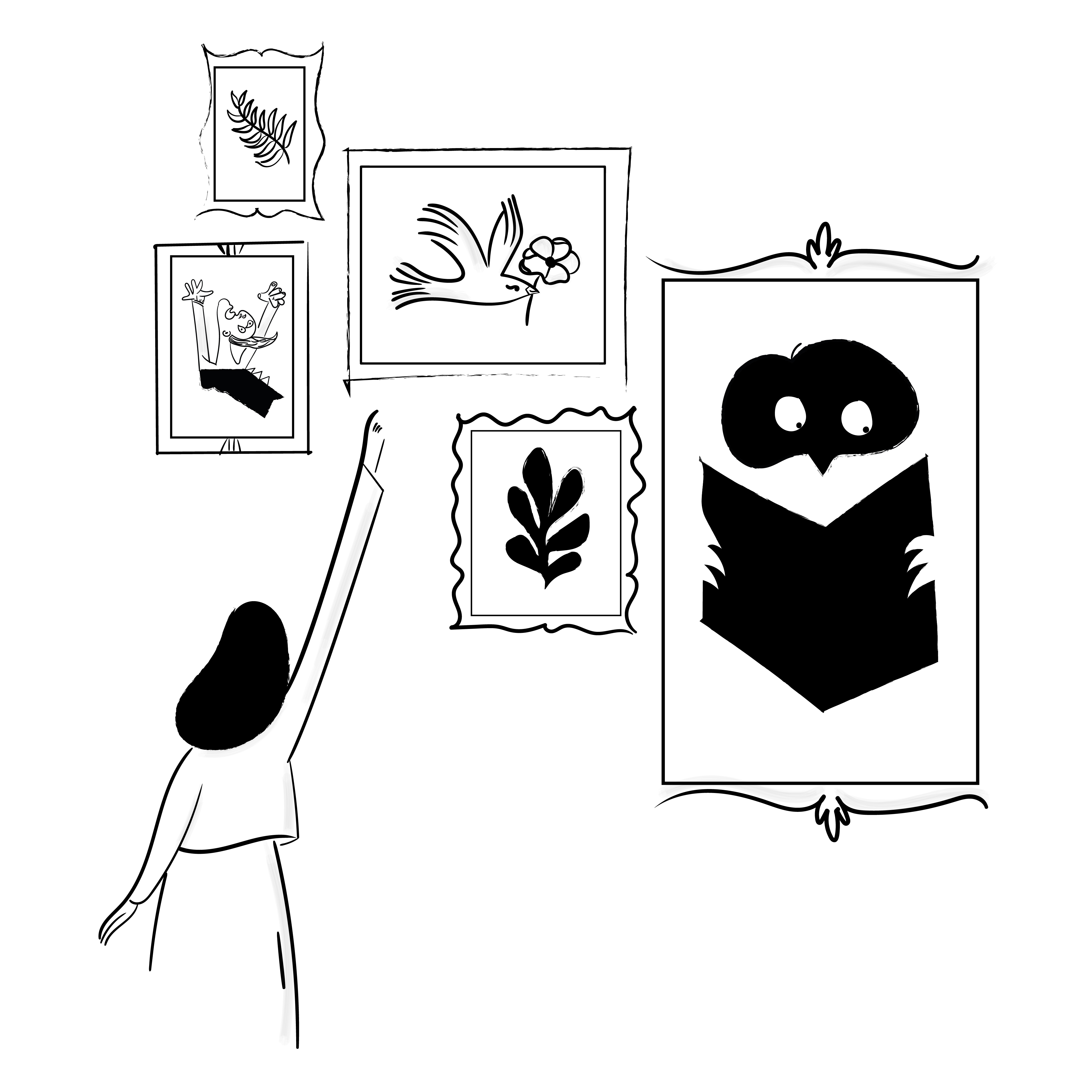 A person pointing to multiple picture frames on a wall containing a Picasso-esque person waving their arms like a maniac, coral, a messenger pigeon with a flower, an owl reading a book but not letting the absence of thumbs bother it when turning pages, and a leaf.