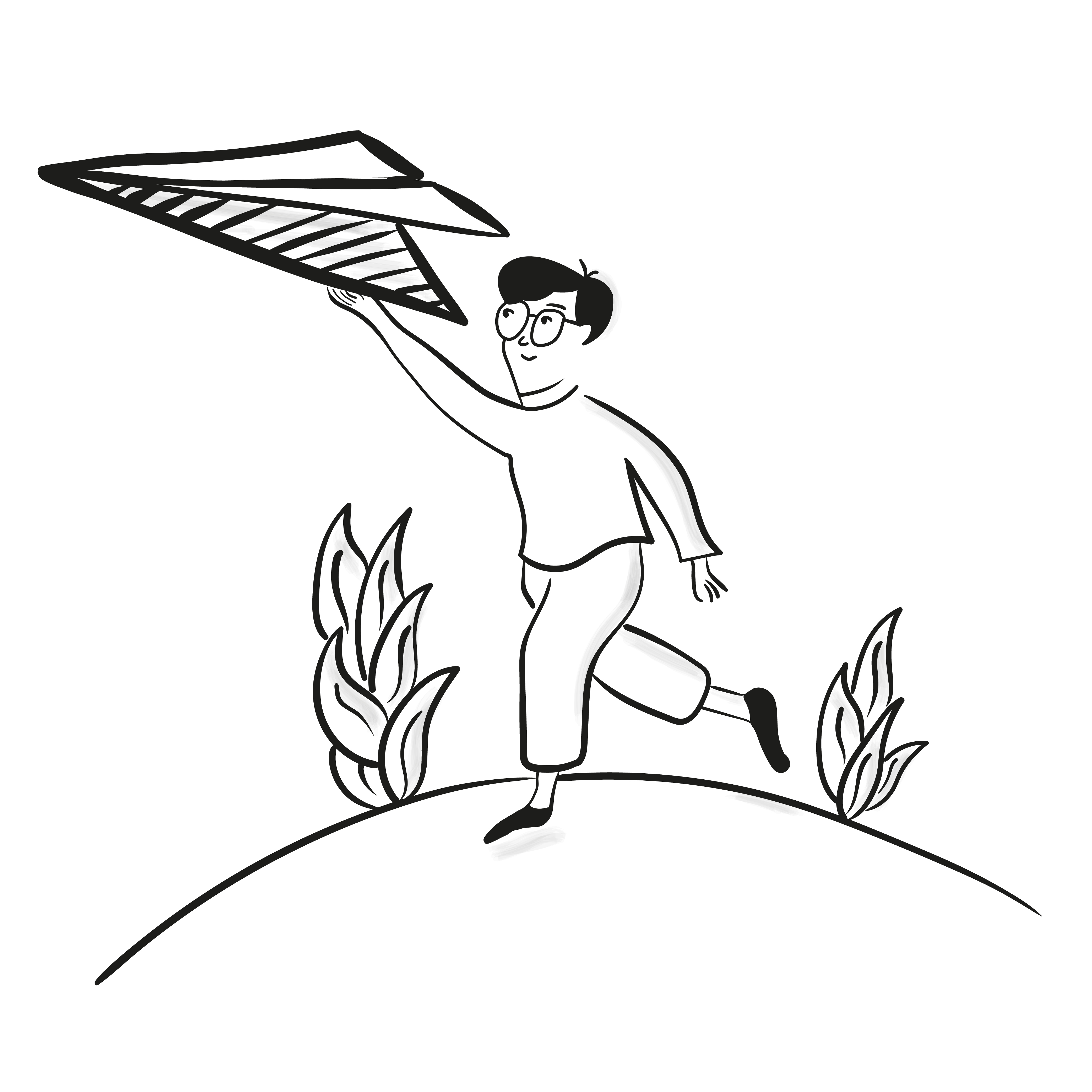 A person running with a large paper airplane over a hill.