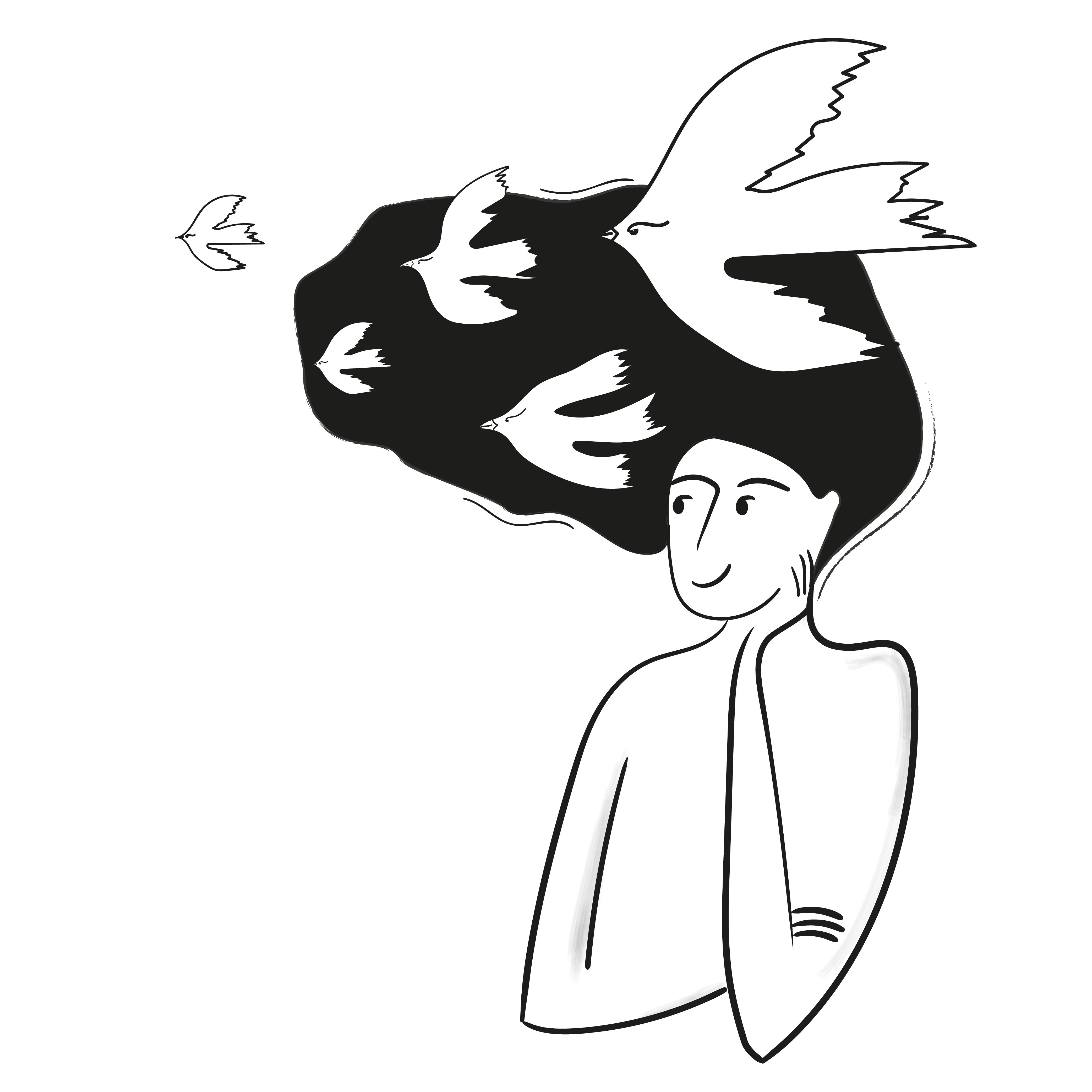A person with birds flying away from their head as they look content.