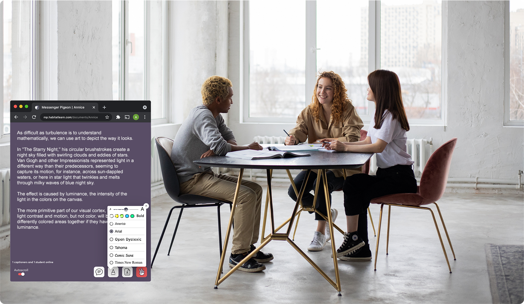 Screen image of messenger pigeon in the corner of a digital meeting on a laptop.