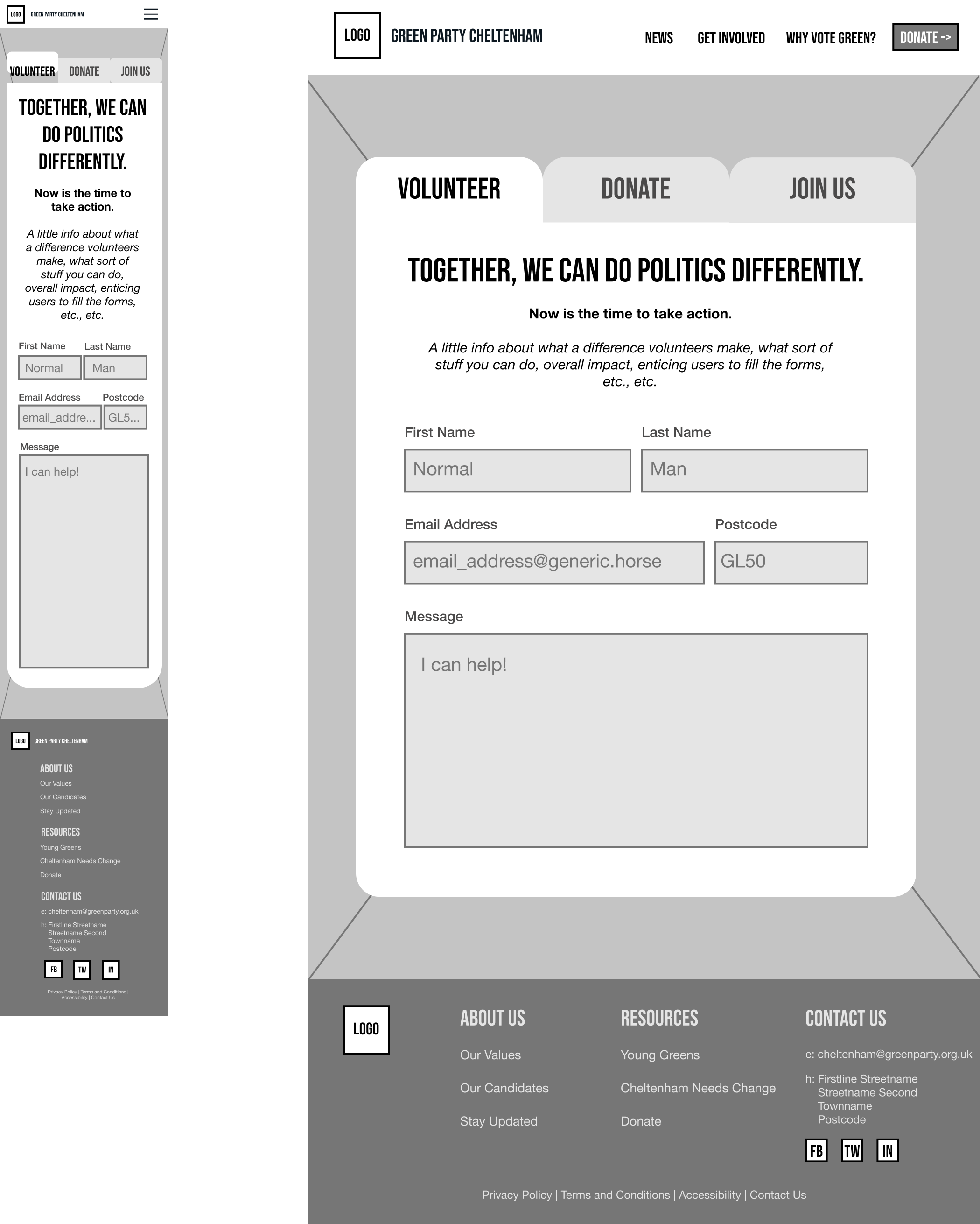 """The Low Fidelity Wireframe for the """"Get Involved"""" page."""