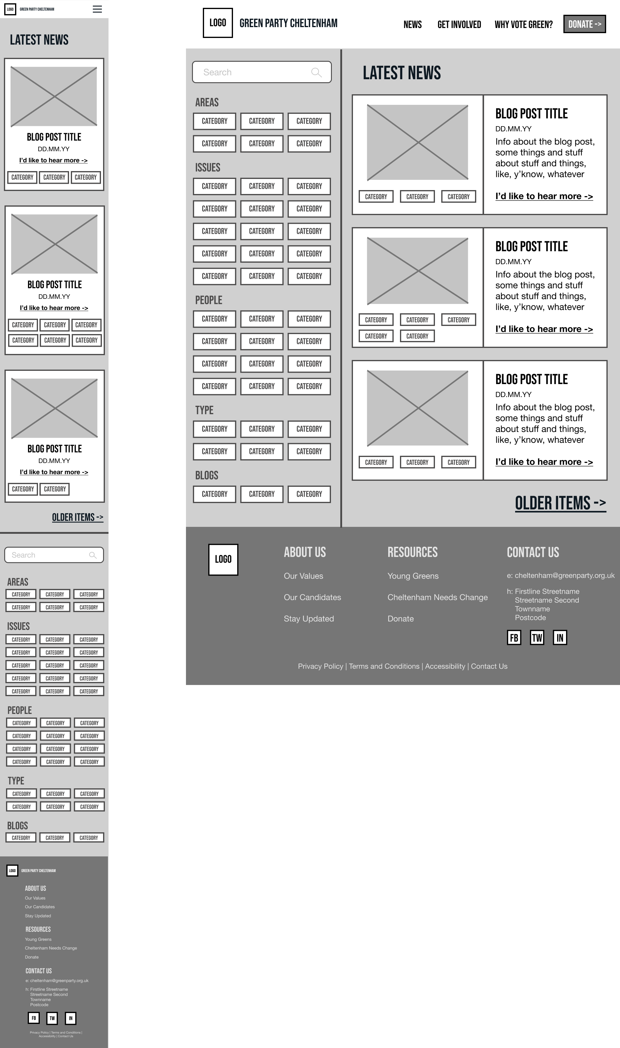 The Low Fidelity Wireframe for the News page.