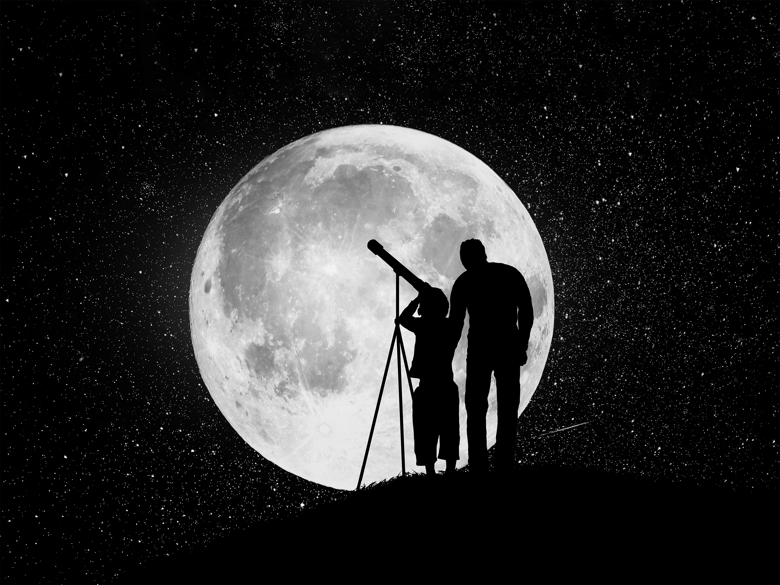 An adult and child looking into a telescope in front of a full moon