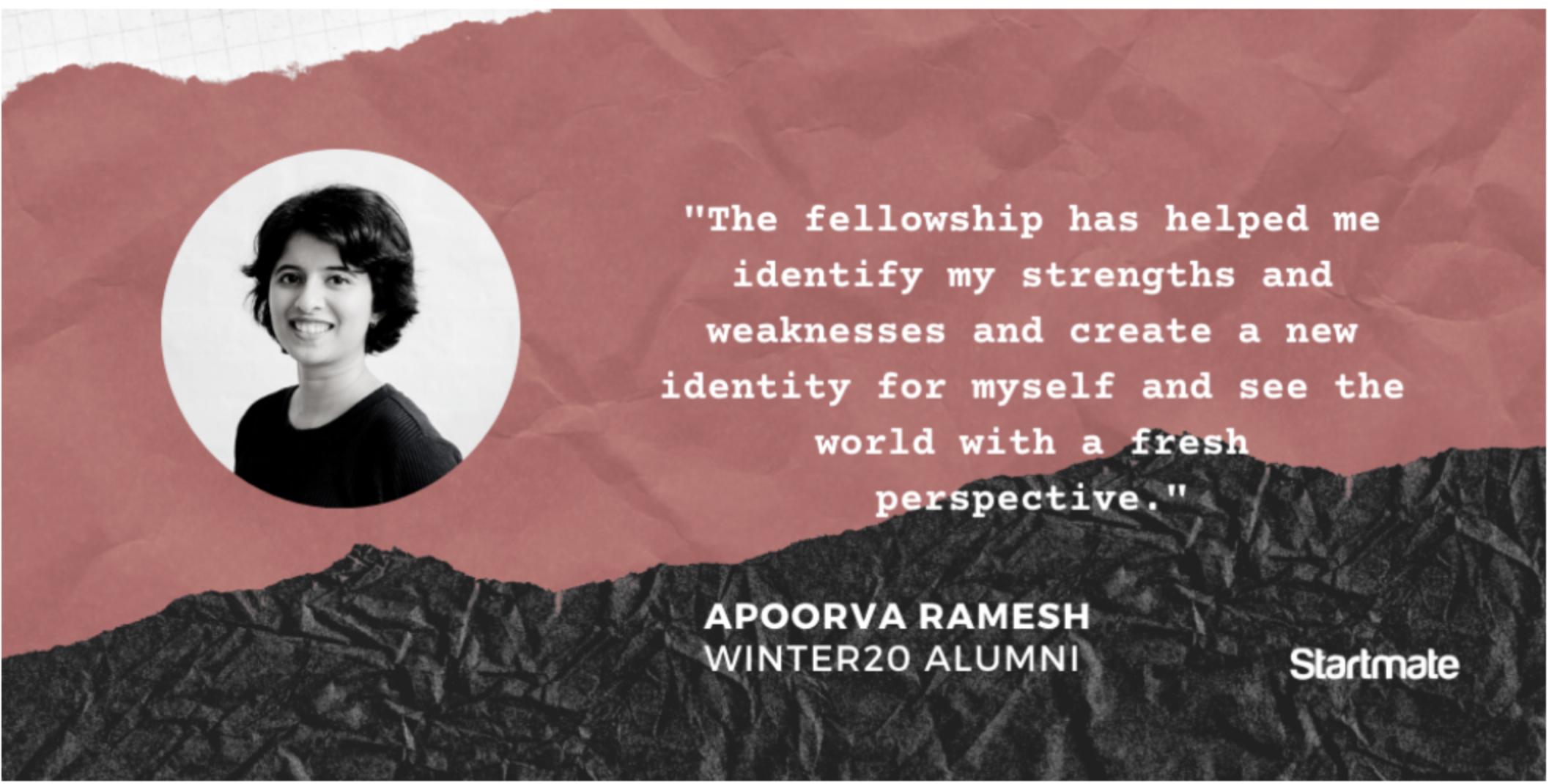 Apoorva Ramesh, Winter20 Fellow