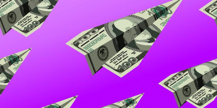 Dollar bills as paperplanes