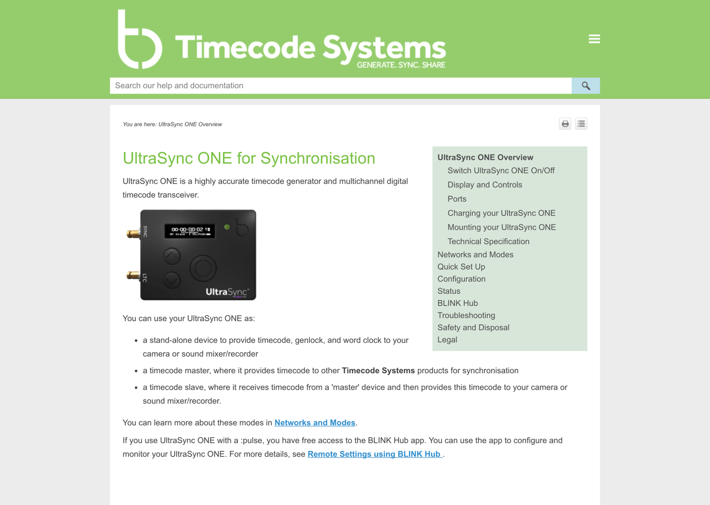 Timecode Systems example using MadCap Flare