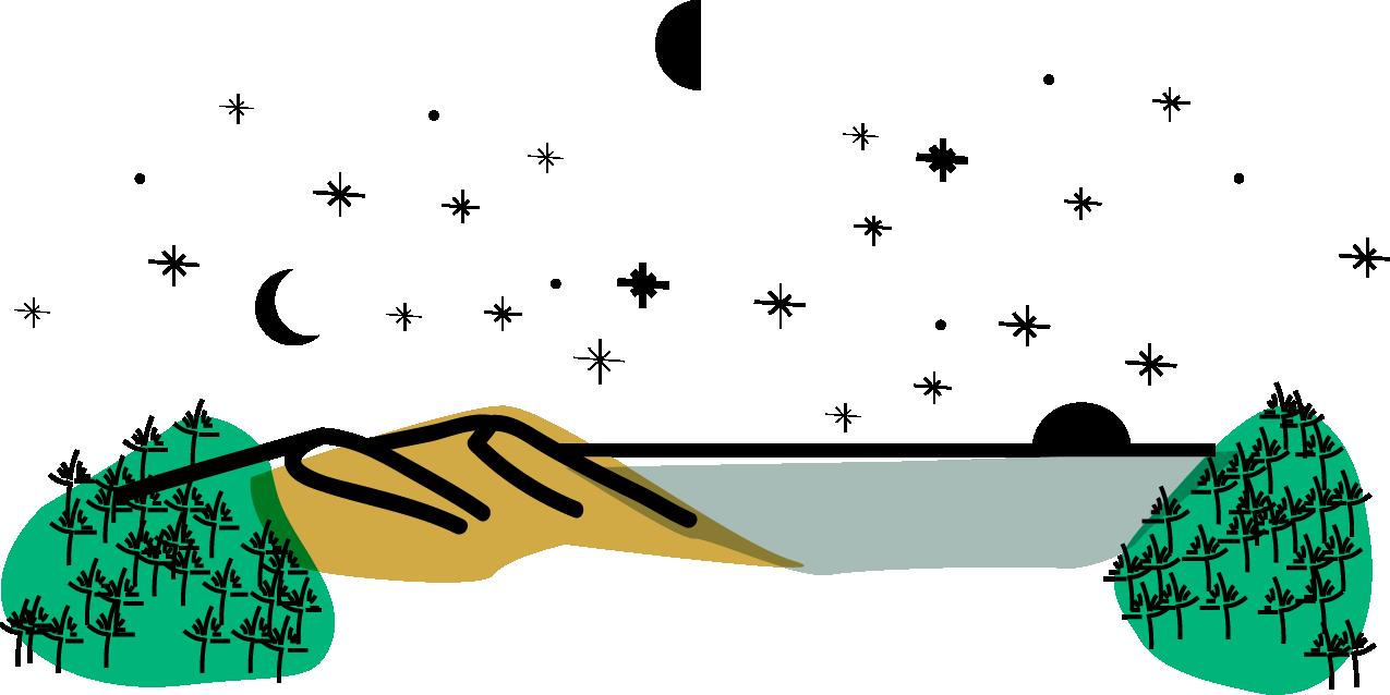 Dessin représentant les pins, la dune et l'océan