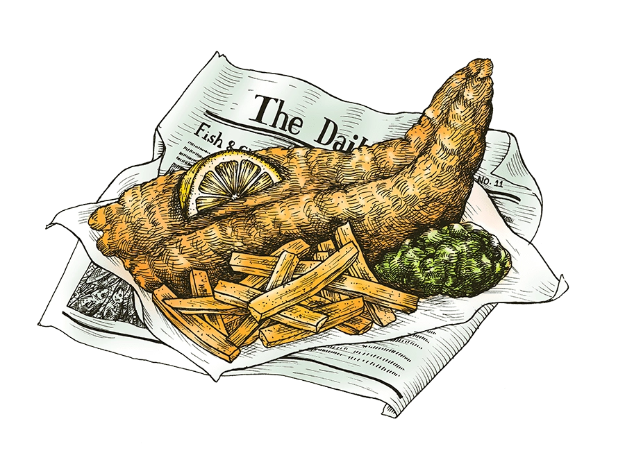 Drawing of fish and chips