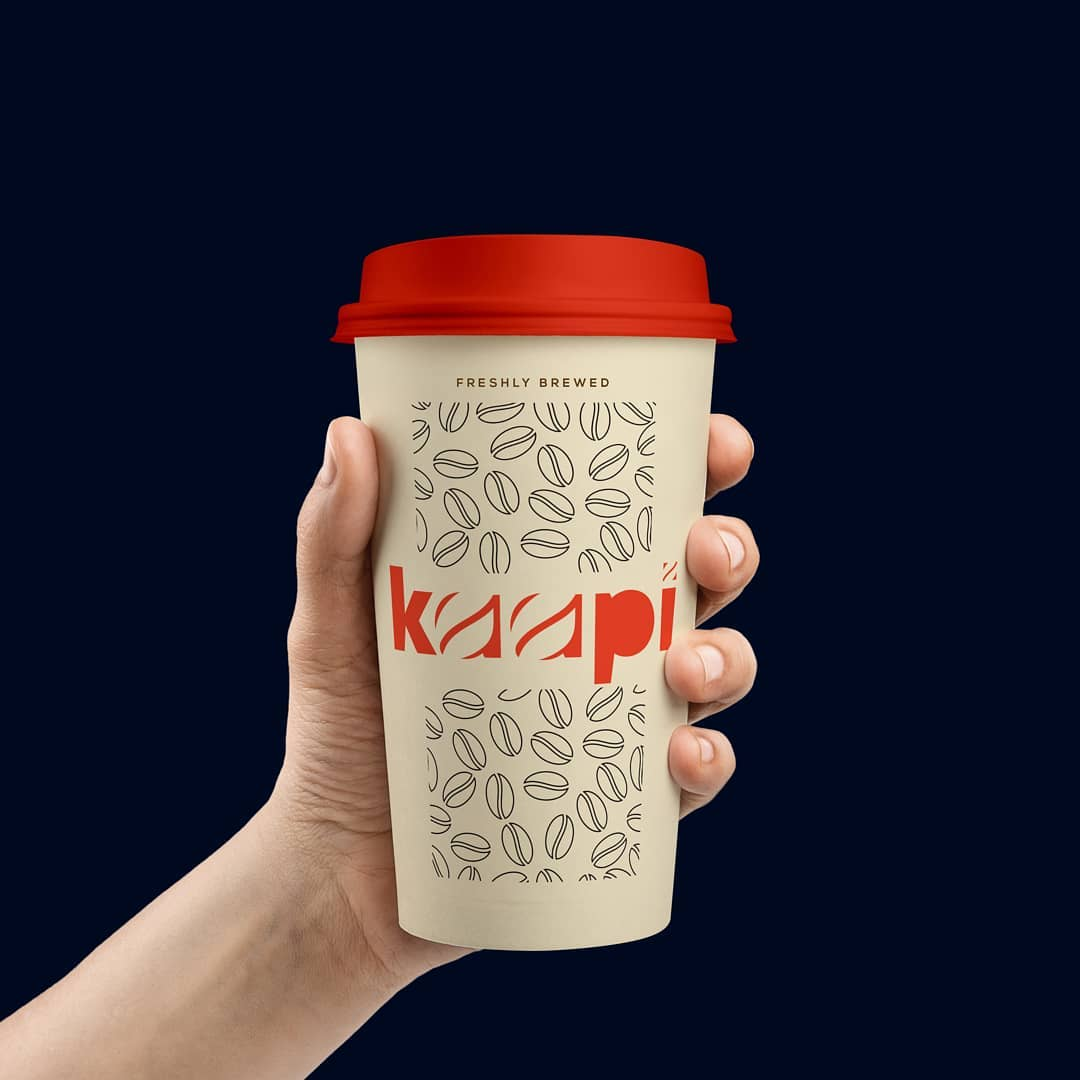 A coffee cup with custom typography design