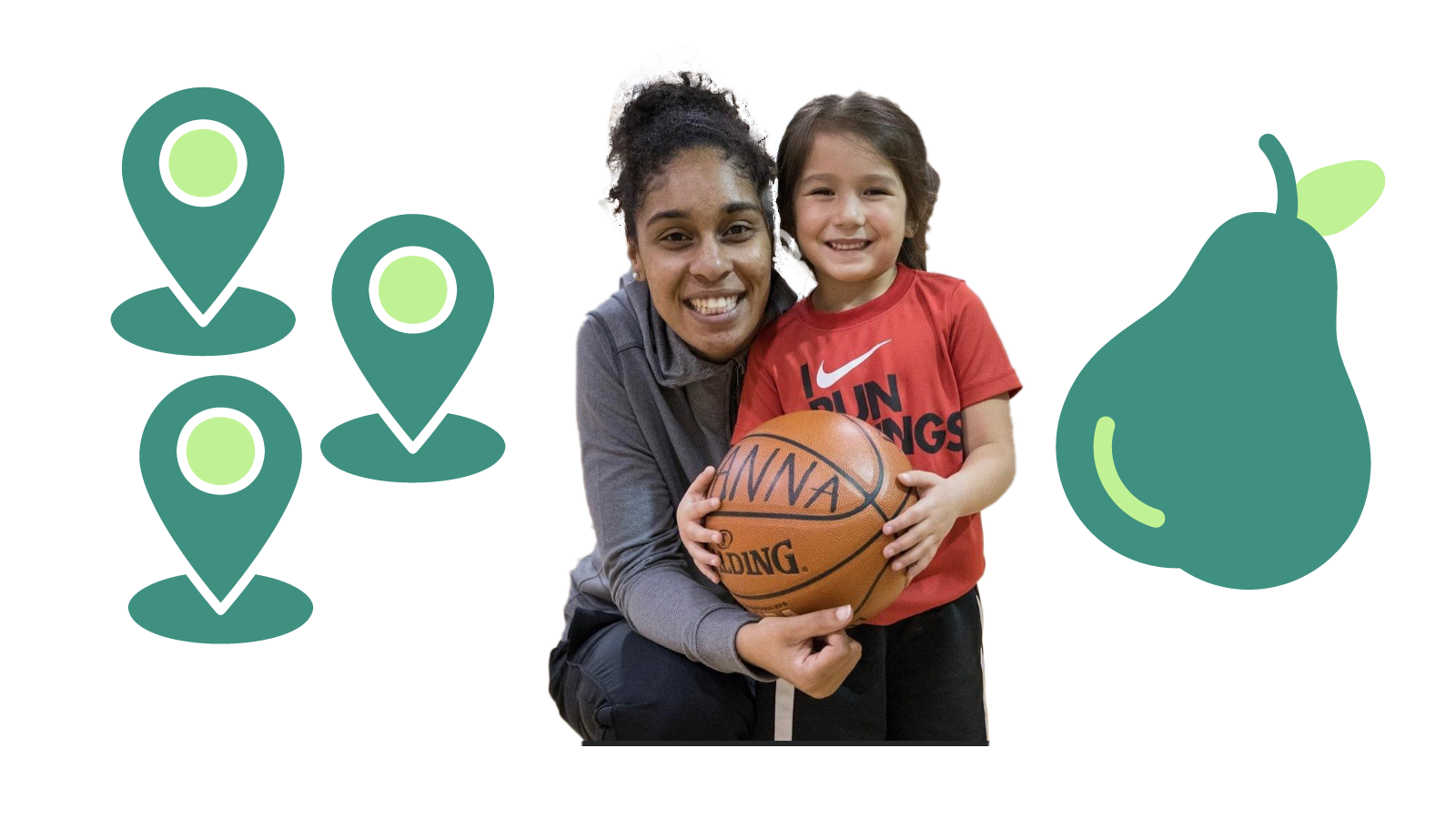 A woman and a girl with a basketball, surrounded by icons representing locations within Pearland, Texas