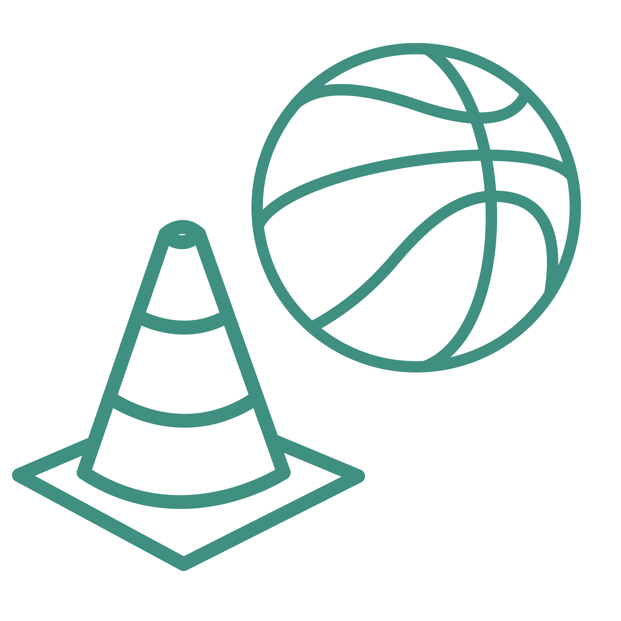 An icon depicting a basketball and a training cone