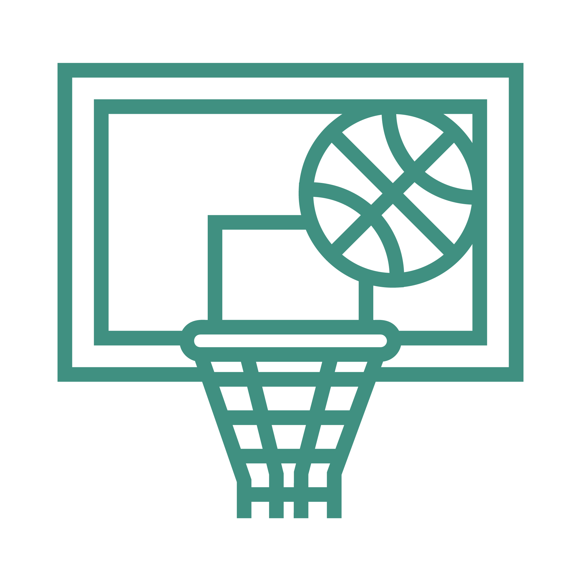 An icon depicting youth and teen basketball
