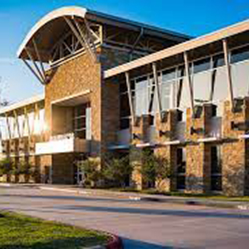 Picture of the front of Pearland's Recreation & Natatorium Center building