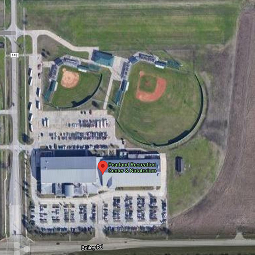 Aerial view of the multipurpose fields at Pearland's Recreation Center and Natatorium.