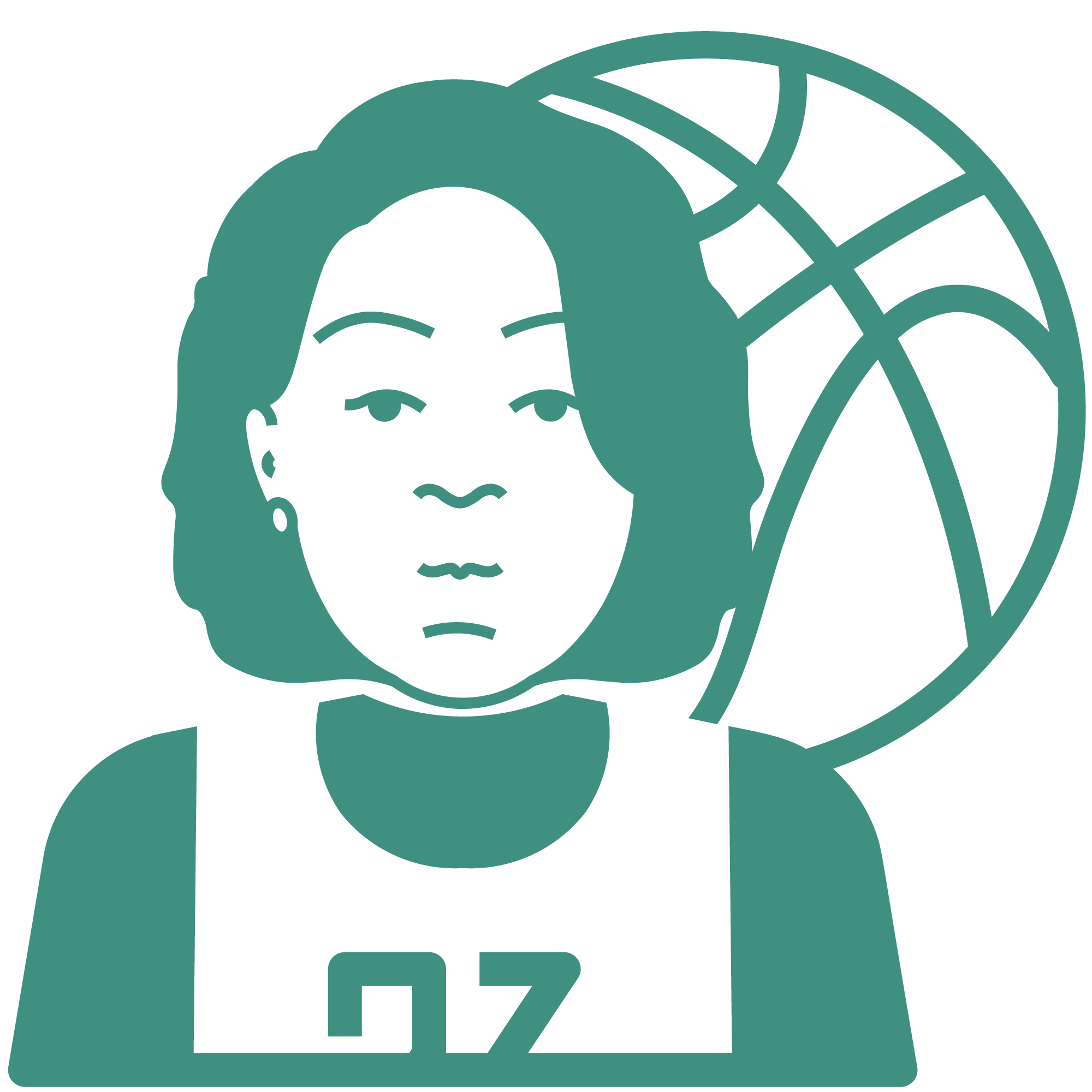 An icon depicting women's basketball