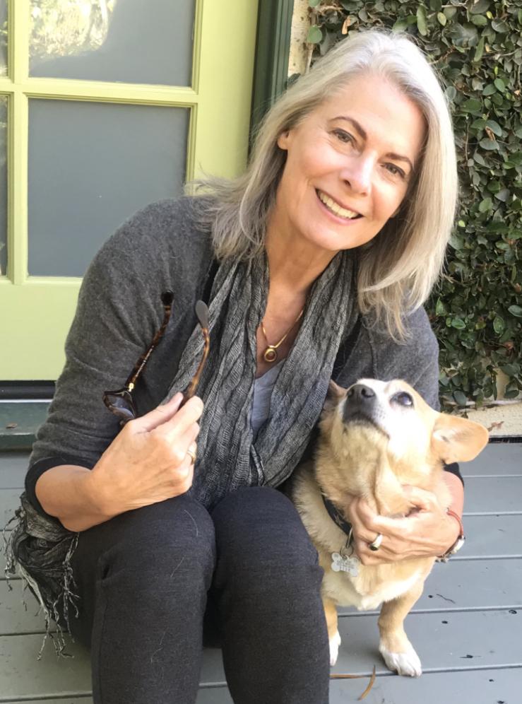 Kathryn Harrold and her dog, Blue