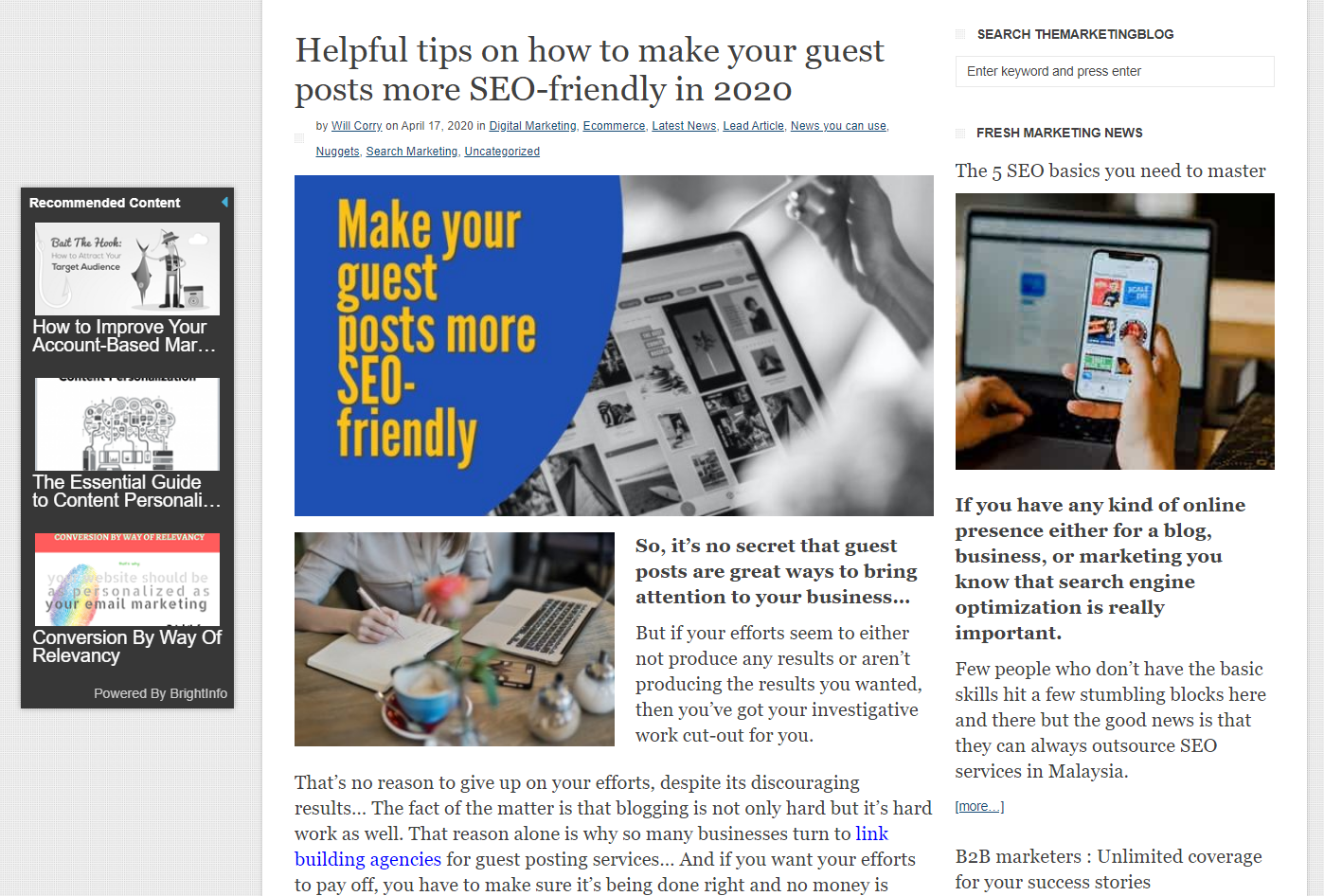 Sample of a guest post site