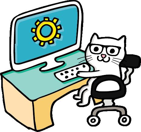 8Bit The Cat working on a desktop computer