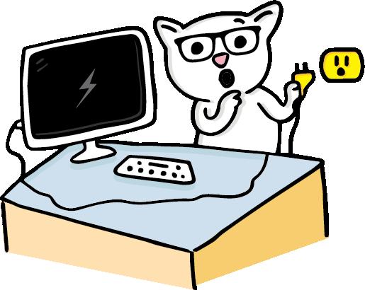 8Bit The Cat unplugging a desktop