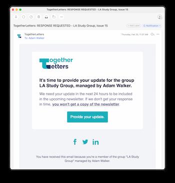 Screenshot of TogetherLetter email