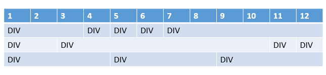 3 rows, different divs per row