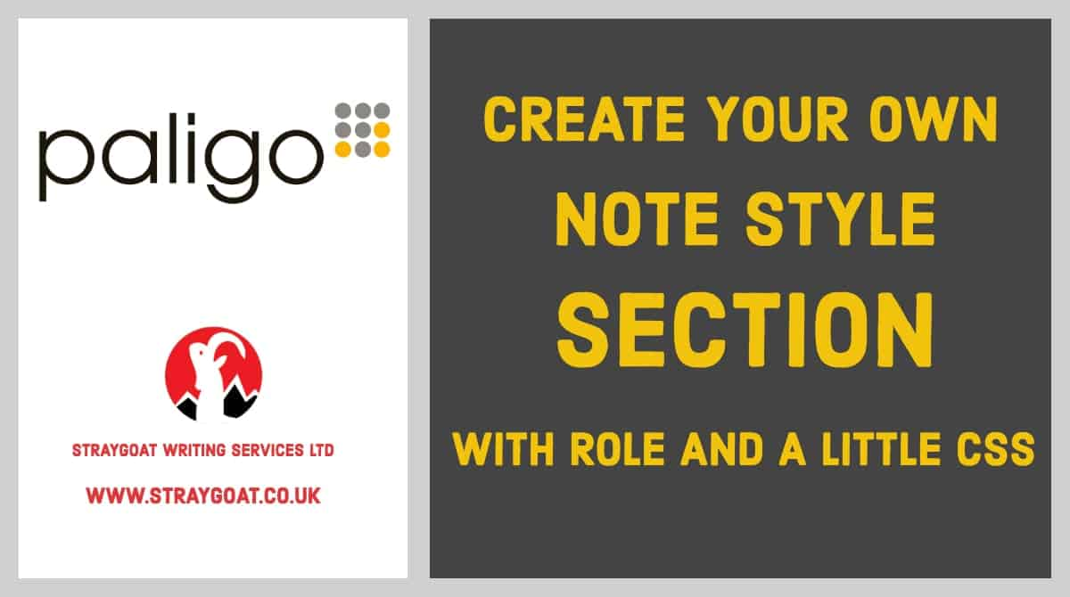 Paligo - create your own note style section