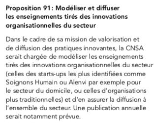 Le Rapport Libault soutient qu'il est nécessaire de modéliser et diffuser les enseignement tirés des innovations organisationnelles du secteur telle que celle portée par Alenvi