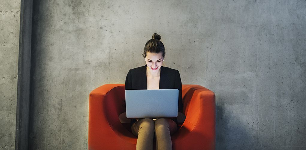 Woman at online assessment