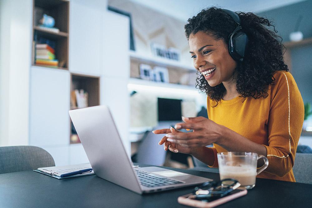 Woman receiving online coaching
